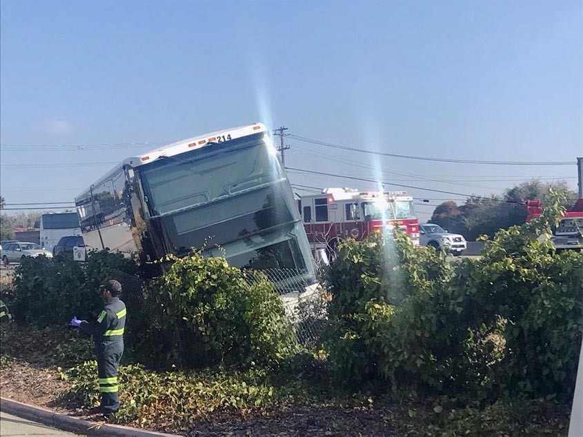 No injuries after bus ends up in ditch along Highway 101