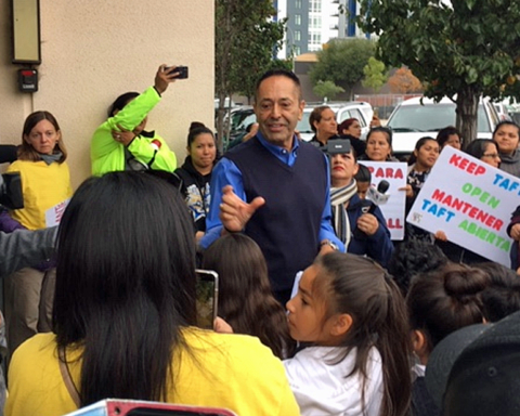Nearly 200 families, supporters protest Redwood City School District proposals