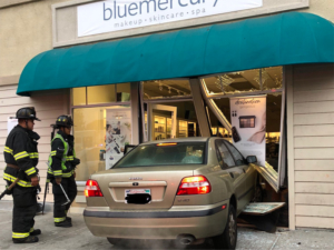 Car crashes into business at Sequoia Station