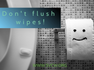 Please don't flush disinfecting wipes, paper towels in the toilet